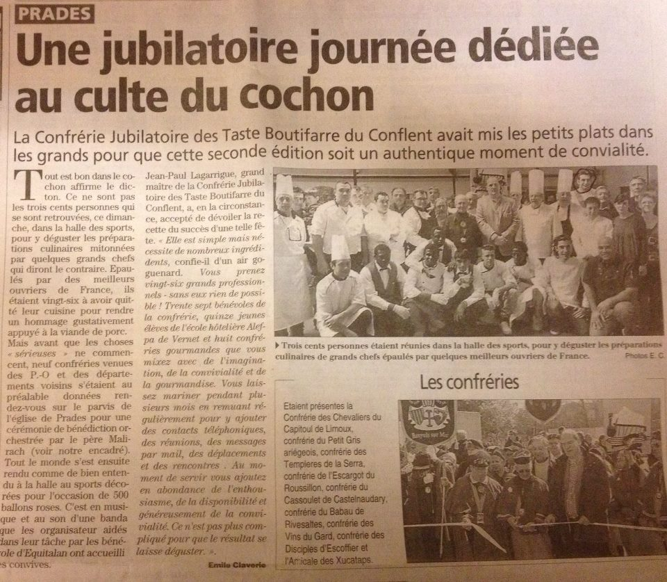 Seconde édition de la journée dédiée au culte du cochon (Extrait du journal L'Indépendant - mars 2013)